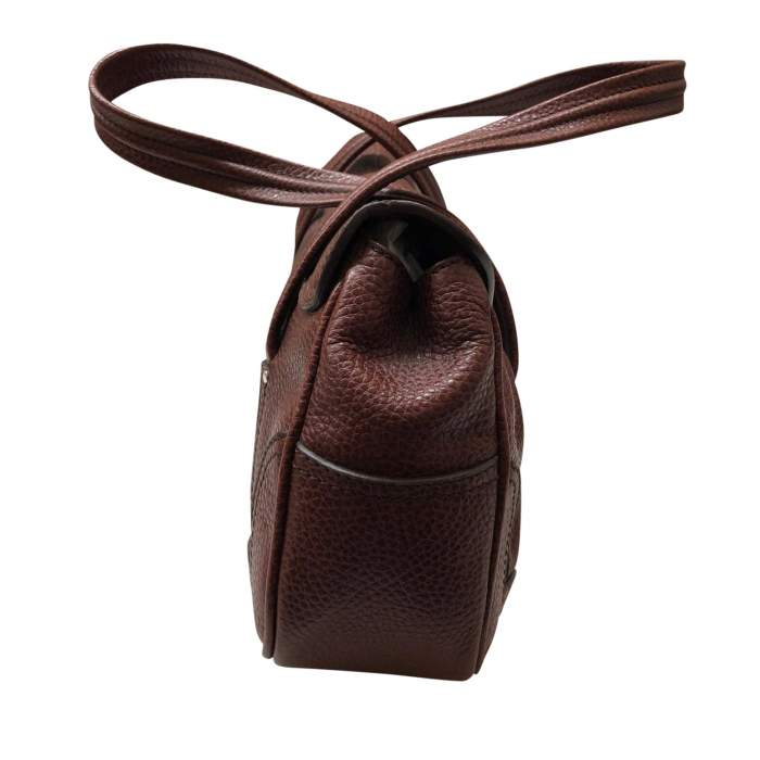 Brown grained leather Handbag-4