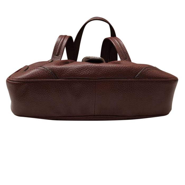 Brown grained leather Handbag-6