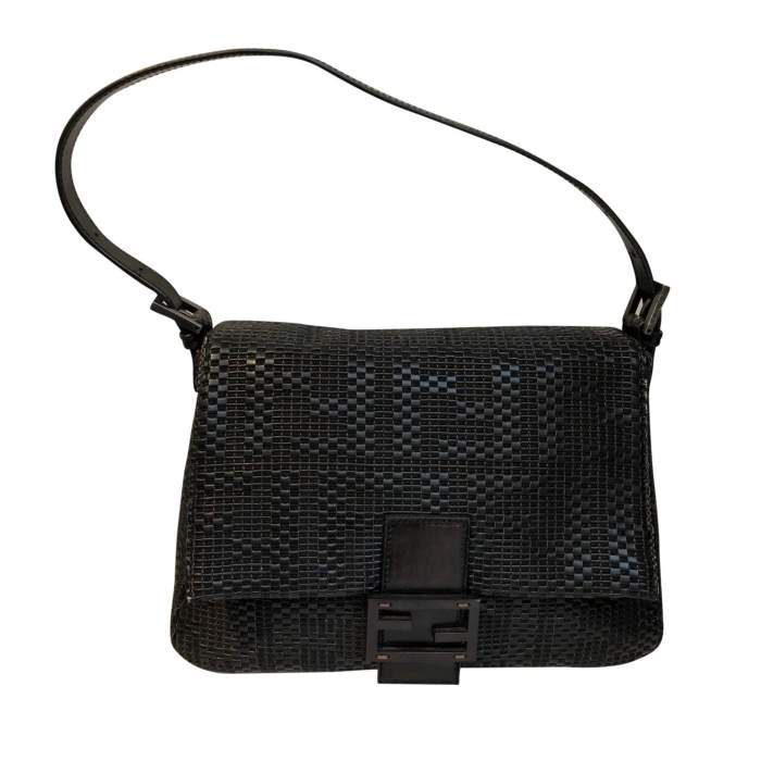 Black braided leather Bag-0