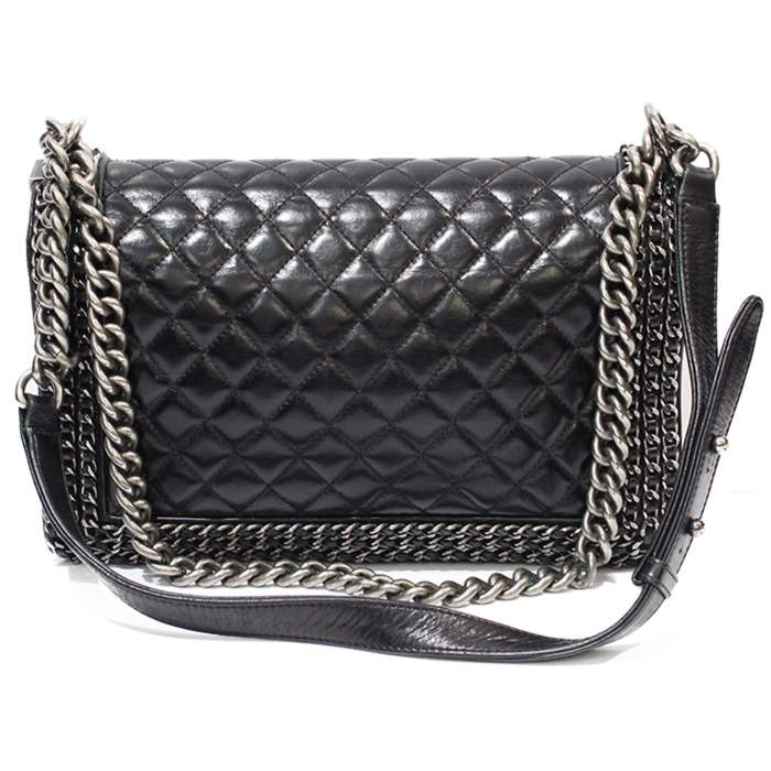 Black leather Boy Bag-2