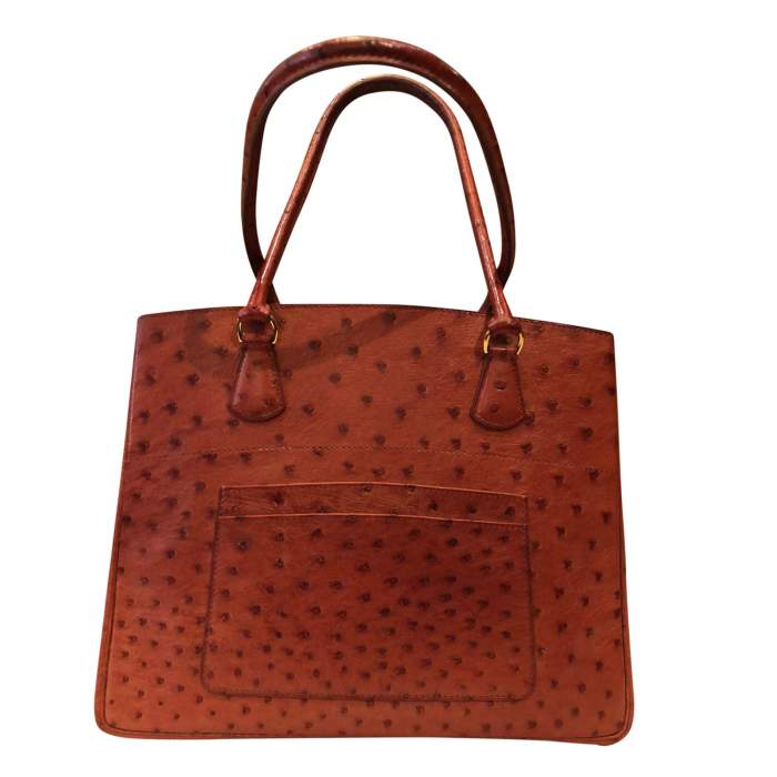 Dark orange ostrich Bag-0