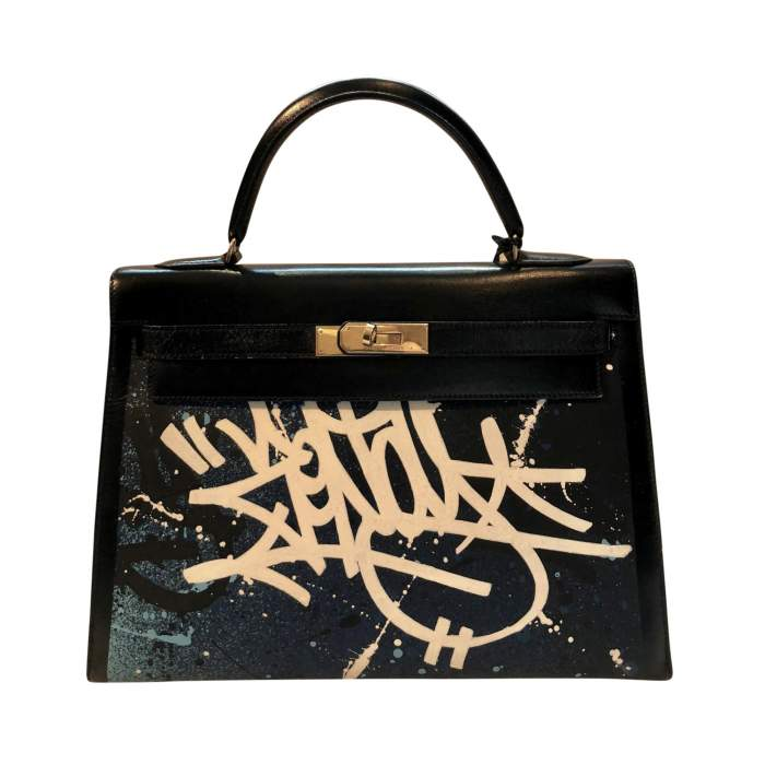 Black Kelly Bag Tagged by Zenoy artist -0
