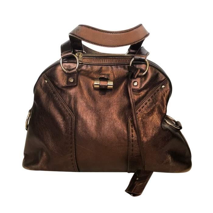 Large bronze shiny leather Bag-0