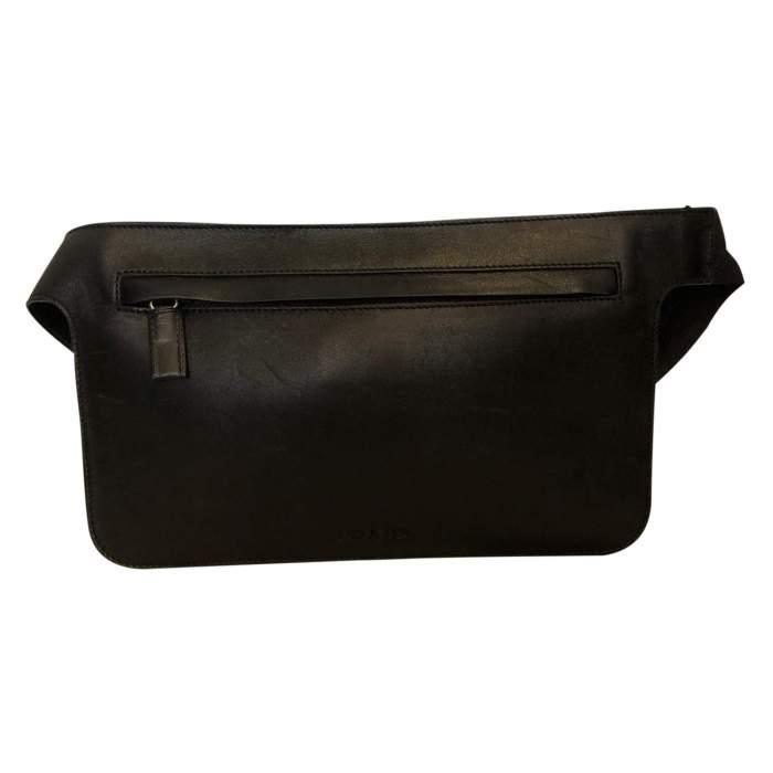 Black leather belt Clutch-0