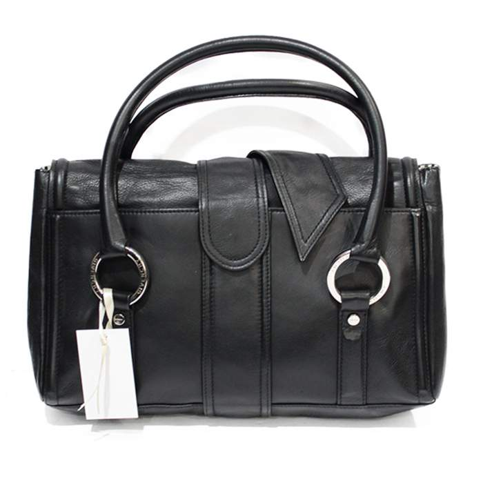 Black leather shoulder Bag-2