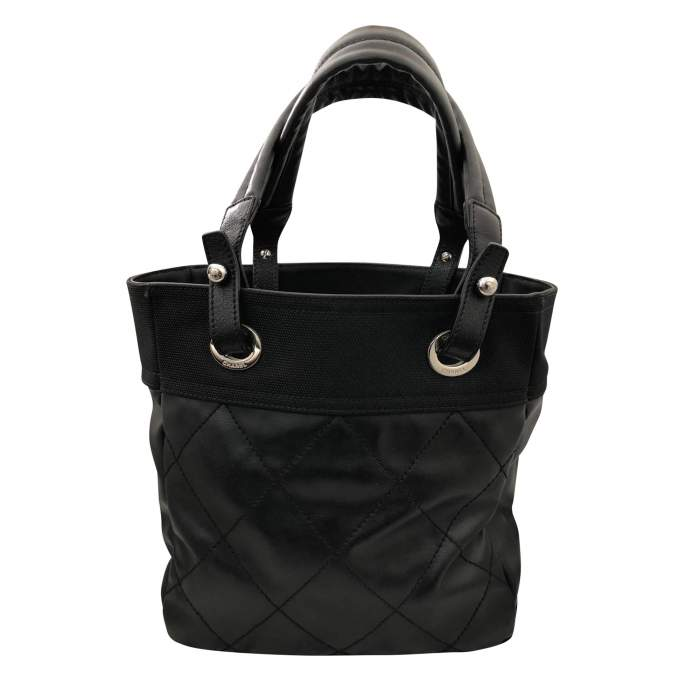 Black leather canvas Tote-2