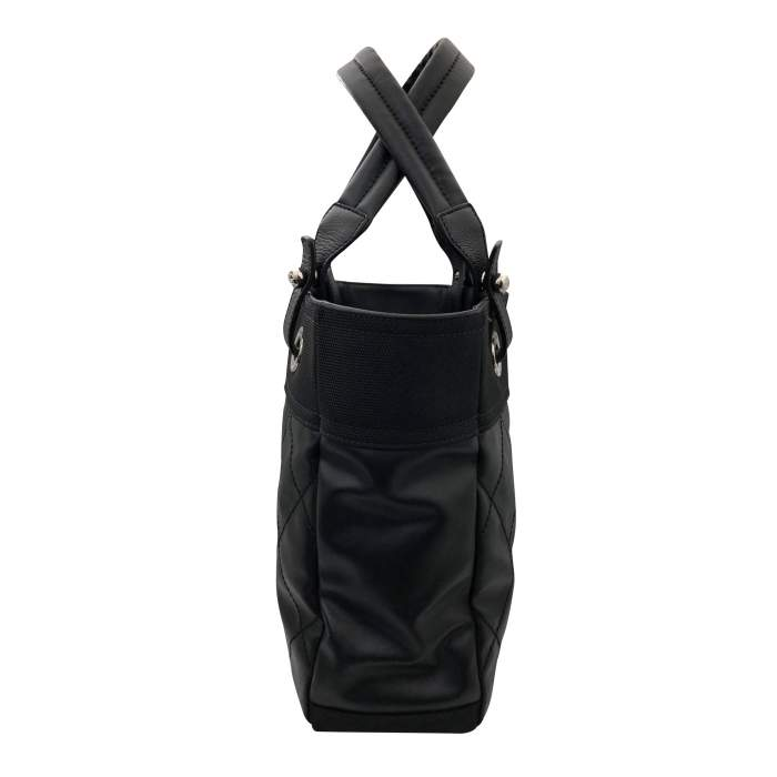 Black leather canvas Tote-4