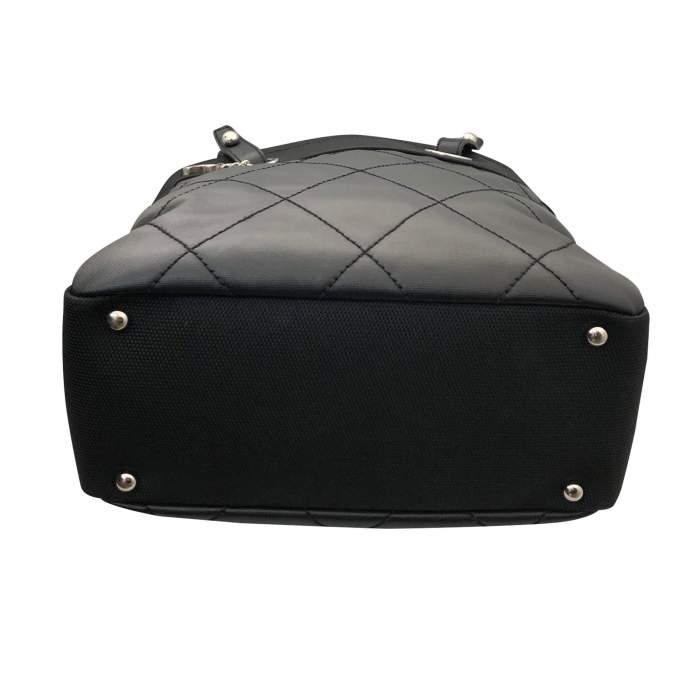 Black leather canvas Tote-6