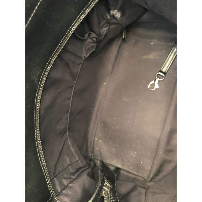 Black leather canvas Tote-8