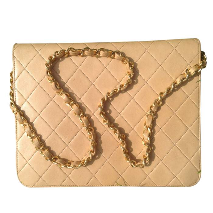 Vintage quilted beige Bag -2
