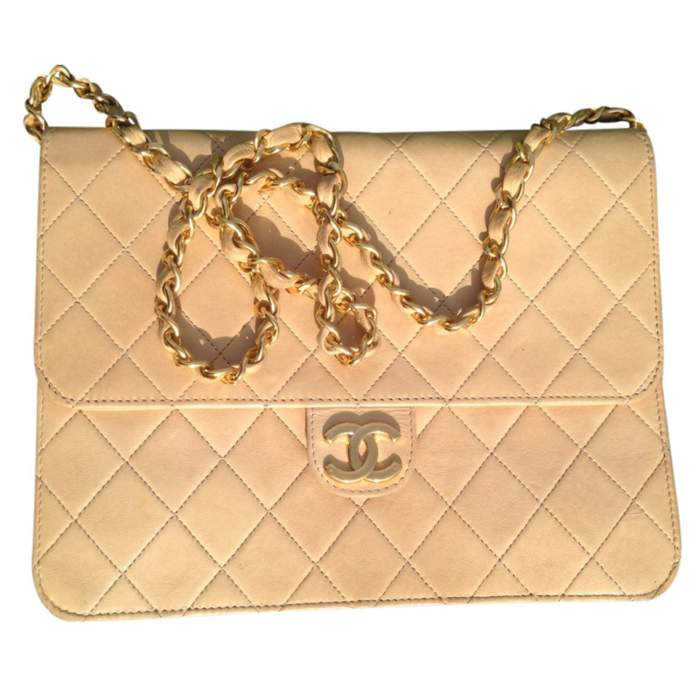 Vintage quilted beige Bag -0