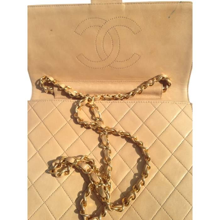 Vintage quilted beige Bag -4