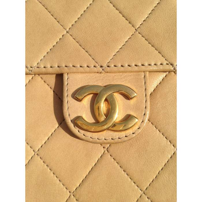 Vintage quilted beige Bag -10