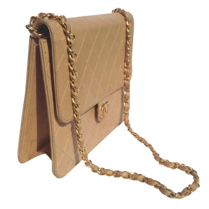 Vintage quilted beige Bag -6