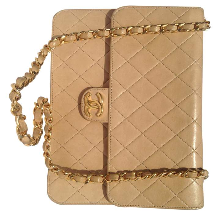 Vintage quilted beige Bag -8