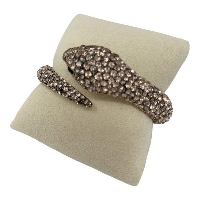 Gold Swarovski Crystal Snake Bracelet-4
