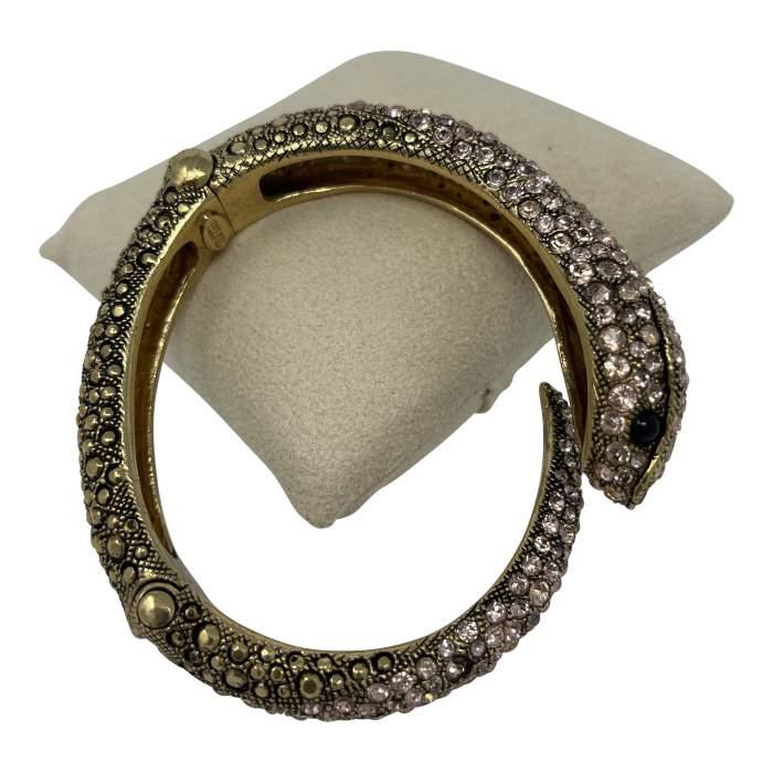 Gold Swarovski Crystal Snake Bracelet-6