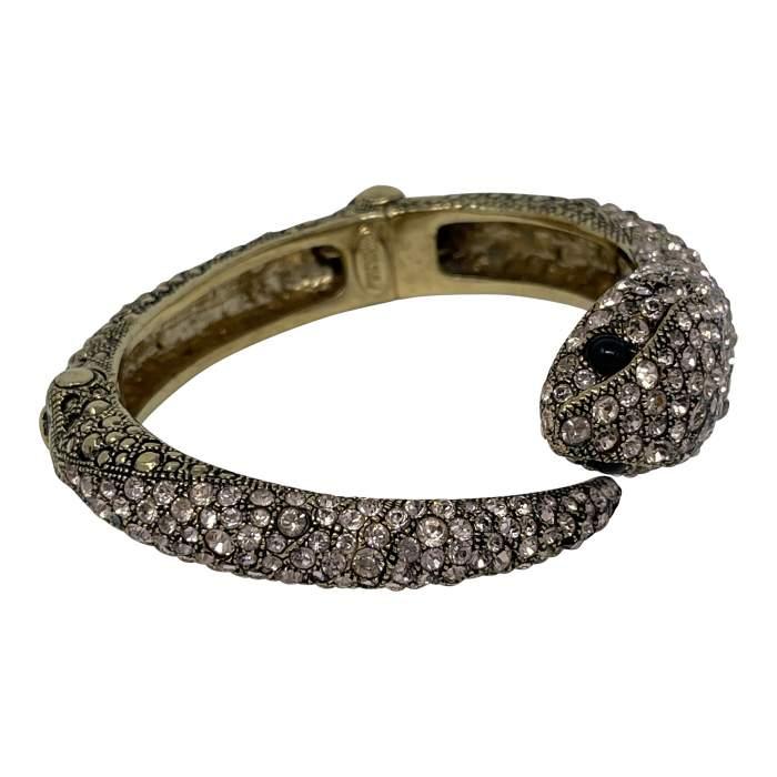 Gold Swarovski Crystal Snake Bracelet-8
