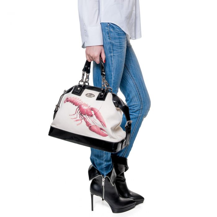 Leather & canvas Handbag -8