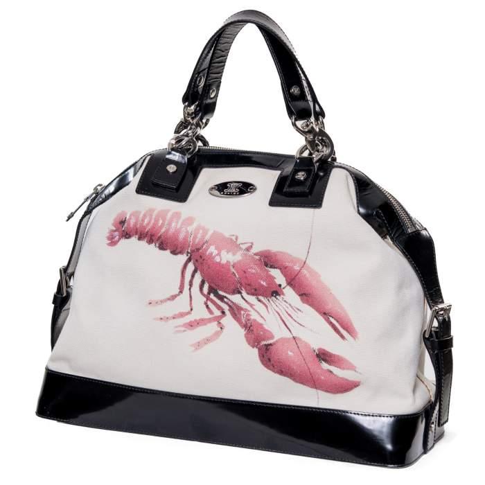Leather & canvas Handbag -0
