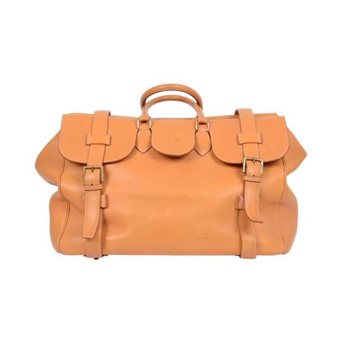 """Vintage Leather gold """"Drag"""" travel Bag -0"""