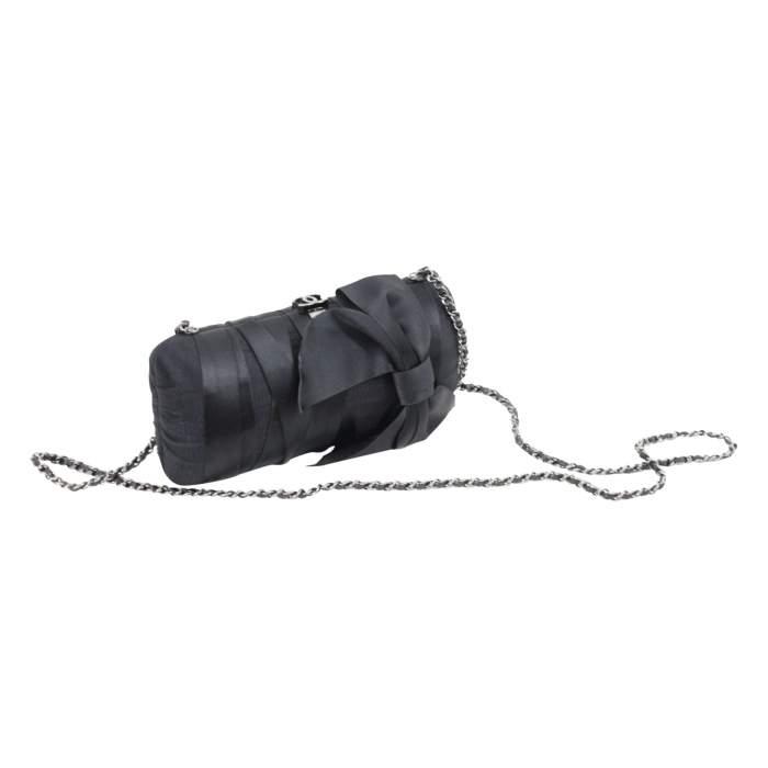 Black Evening Silk Clutch with Silver Hardware-0