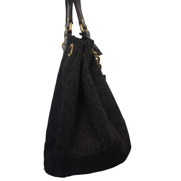 Wool and patent leather Bag -4