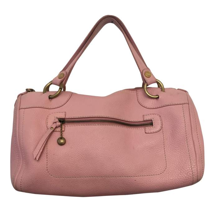 Pink leather hand bag-0