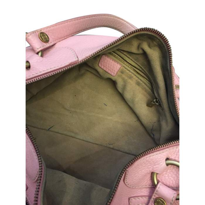 Pink leather hand bag-10
