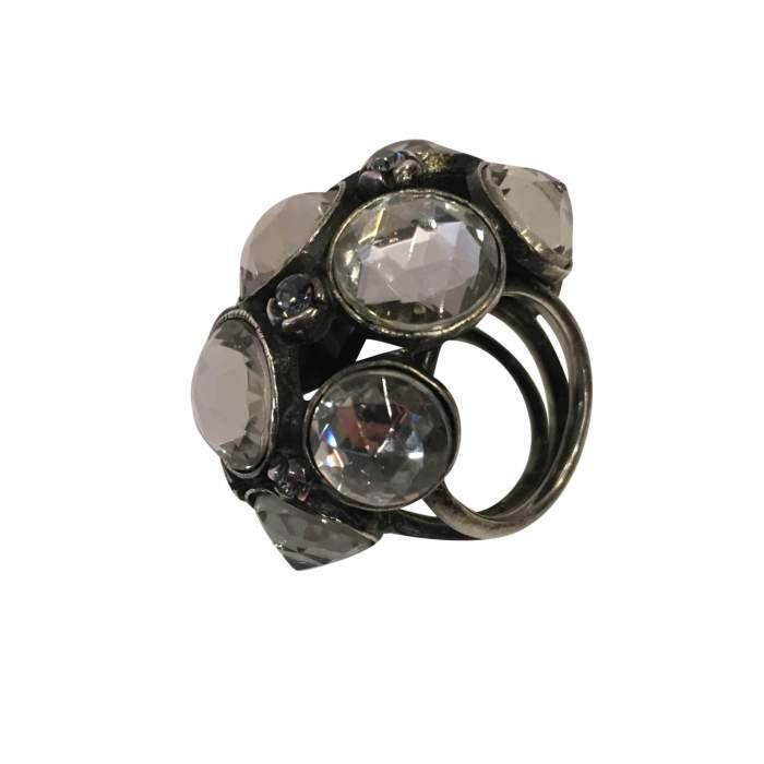 Very nice Ring in metal and rhinestones-4