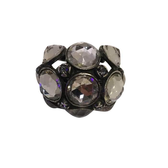 Very nice Ring in metal and rhinestones-6