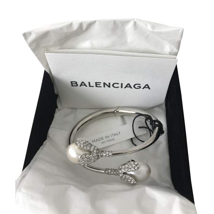 Holiday Collection silver-tone, pearl and crystal bracelet-2