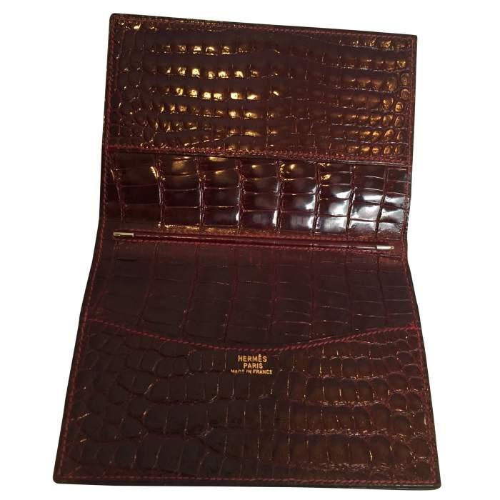 Vintage crocodile card and notebook holder-4