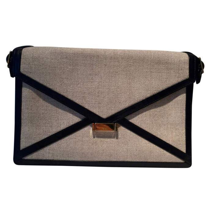 Black leather and beige canvas Clutch-0