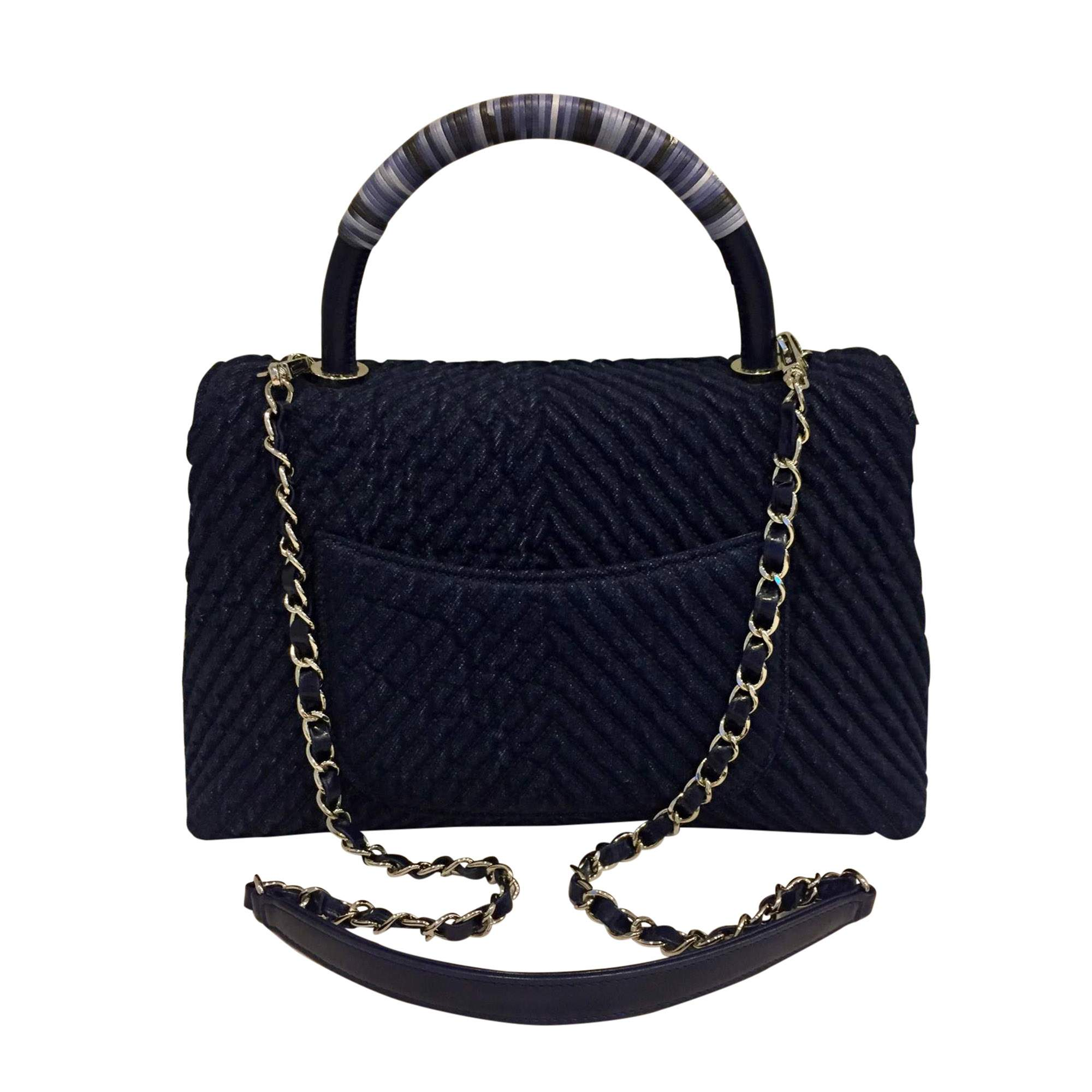 Coco Navy Blue Denim Handbag 2