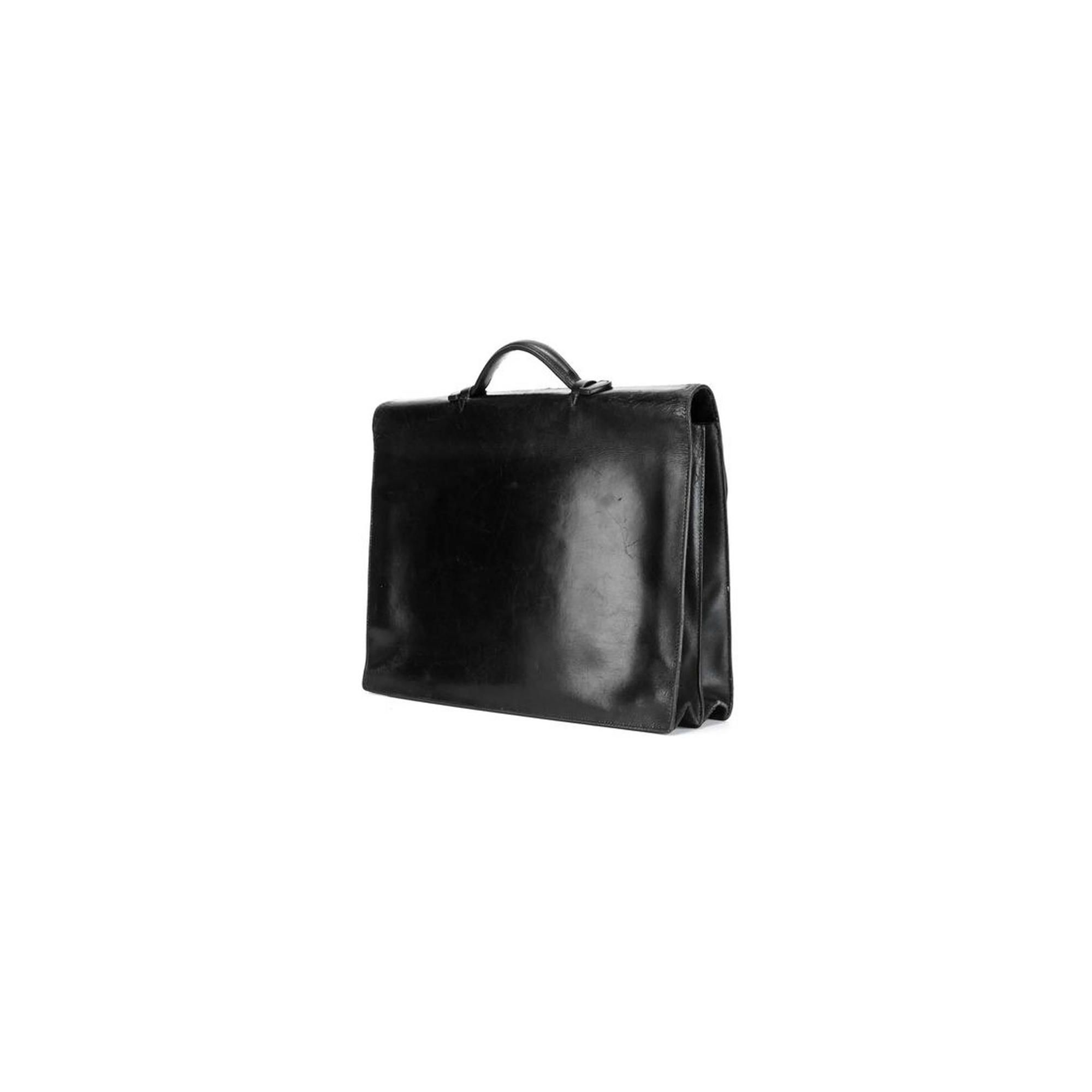42b26e59c27e ... Black Calf Leather Briefcase Sac a Depeches-2 ...