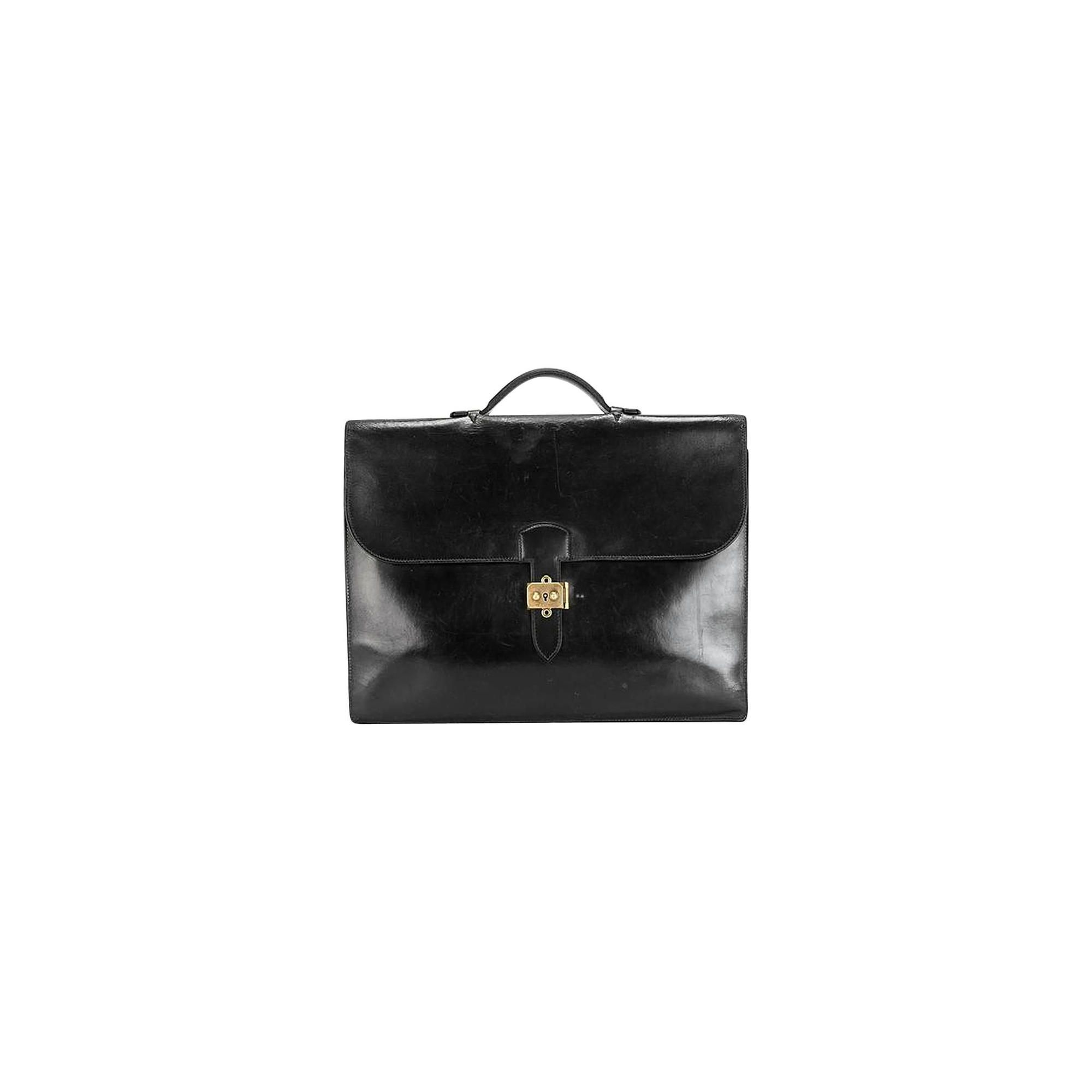 55fbca477236 Hermes Black Calf Leather Briefcase Sac a Depeches