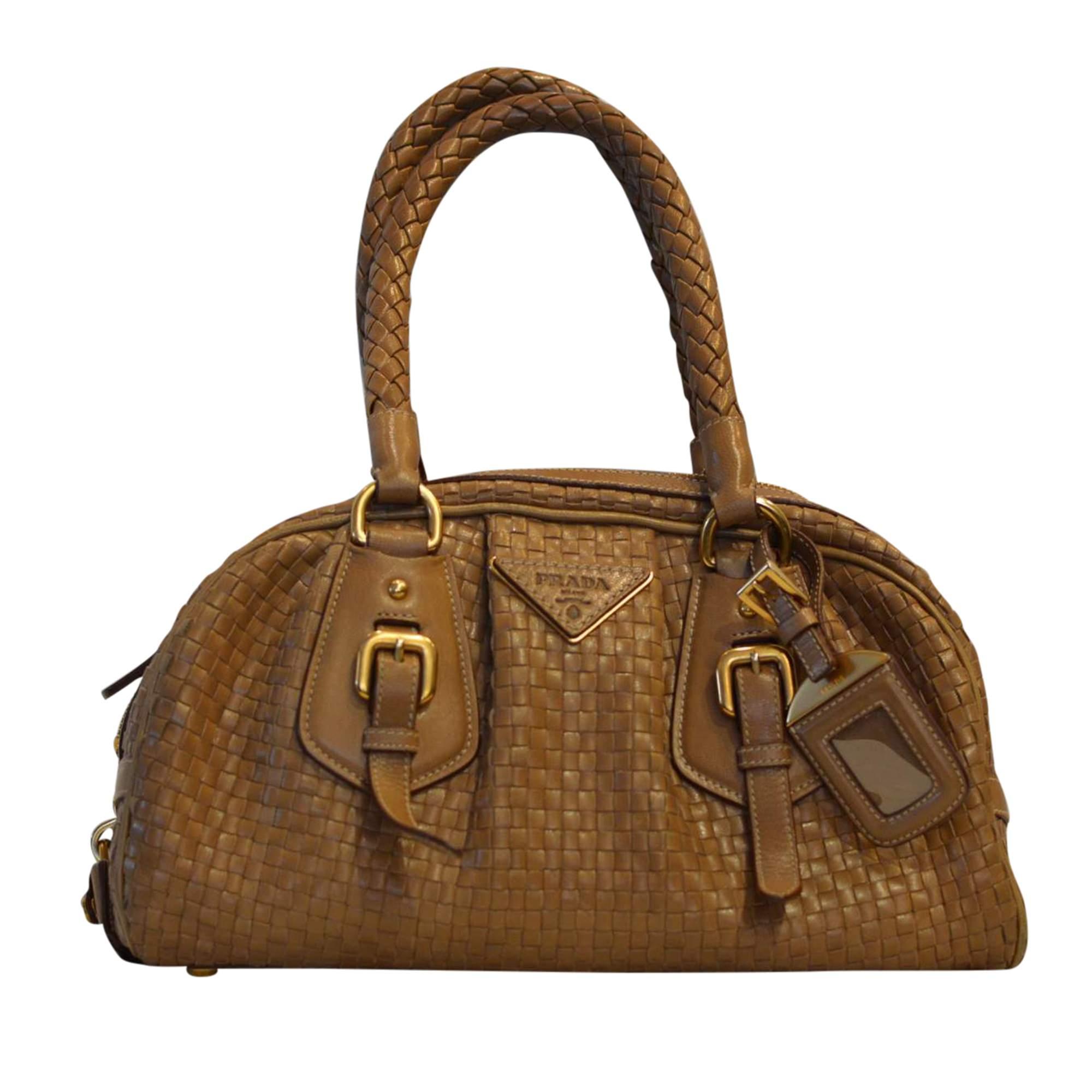 5b9e00444e9c94 Prada Beautiful Preowned Beige Handbag | The Chic Selection