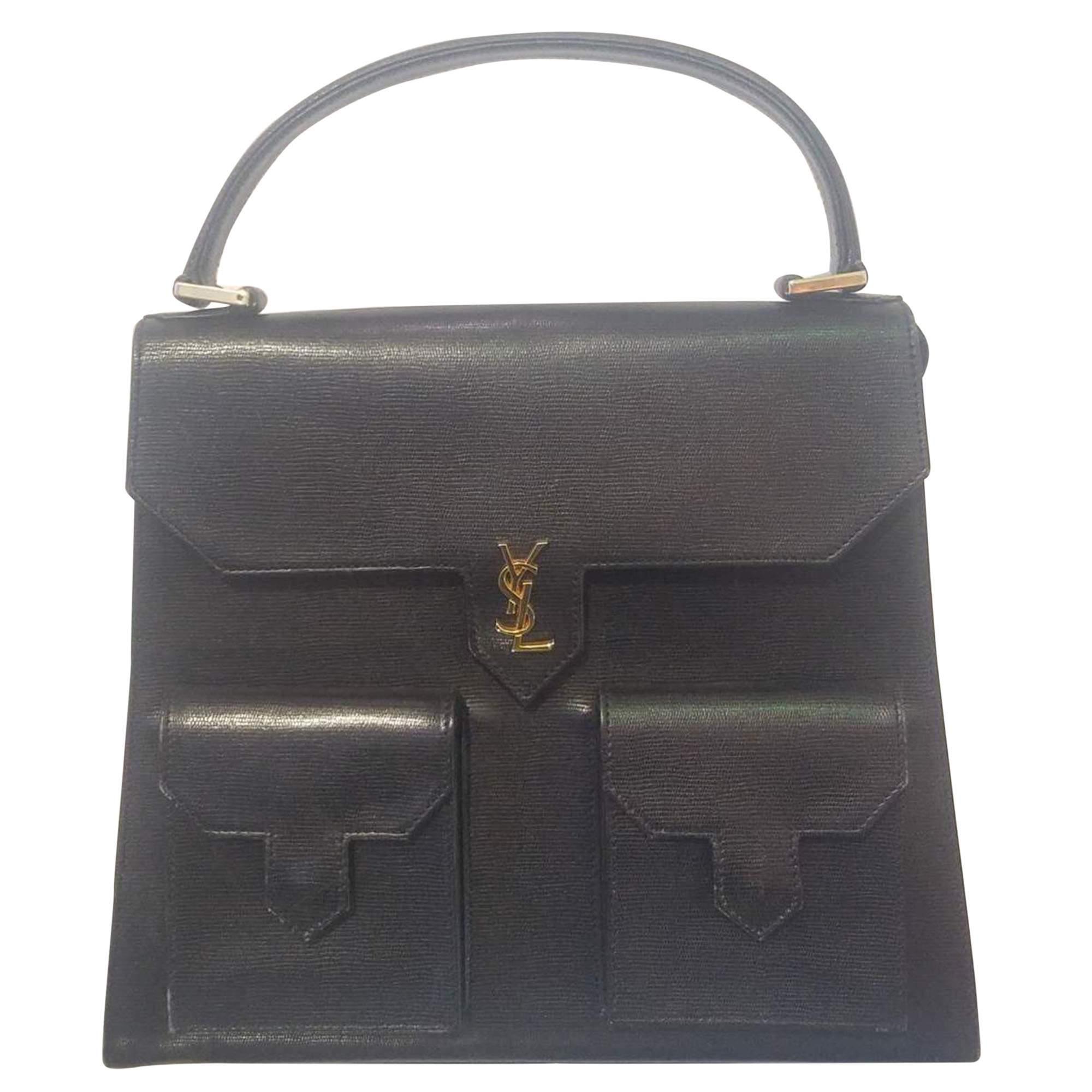 1c41796a65f St Laurent Vintage Yves Saint Laurent Top Handle Navy Bag | The Chic  Selection