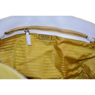 Yellow canvas and white leather Bag-11