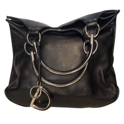 Black grained leather Bag-3