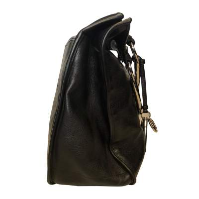 Black grained leather Bag-5