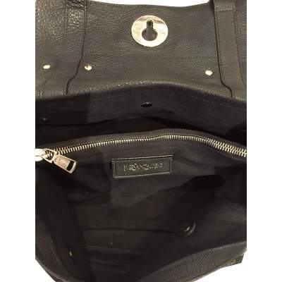 Black leather hand bag-11