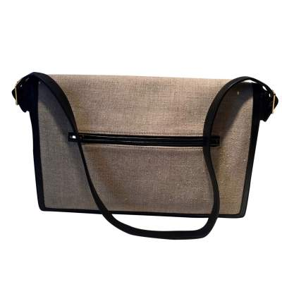 Black leather and beige canvas Clutch-3