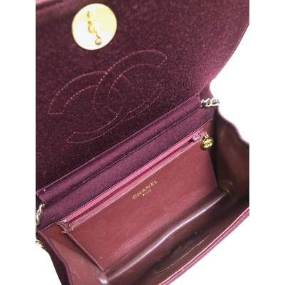 Vintage burgundy canvas Bag-11