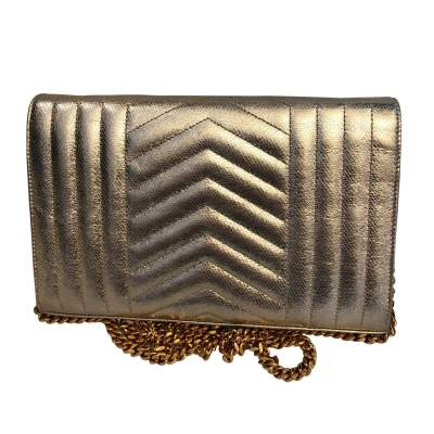 Golden small leather Bag-3