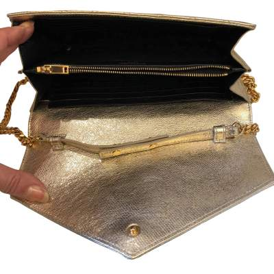 Golden small leather Bag-9