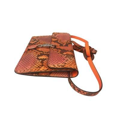 Orange python shoulder Bag-5