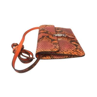 Orange python shoulder Bag-7