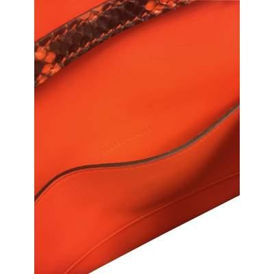 Orange python shoulder Bag-11